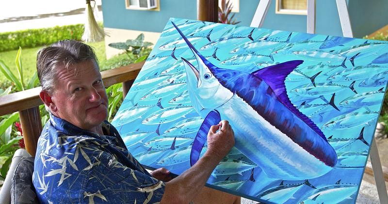 """""""Of all the topics that I paint,"""" Guy Harvey says, """"because it sells very well, is the old man and the big marlin."""" Harvey has been licencing his art for t-shirts since 1986. A portion of the proceeds is dedicated to marine research."""