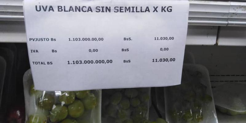 A kilogram of grapes in a Caracas grocery store this week selling for more than twice Venezuela's inflation-ravaged monthly minimum wage.