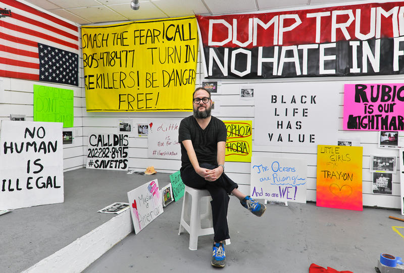 "Jason Lazarus is the artist-in-residence at Mana Contemporary in downtown Miami. His installation ""A Century of Dissent: Miami!"" invites the public to recreate protest signs from the past 100 years of the city's history."