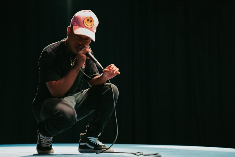 22-year-old Broward Rapper Sam Stan performing in the WLRN studios.