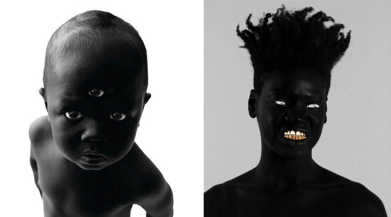 Two of post-disciplinary artist Damon Davis' afro-surrealism pieces: Blake the Great (left) and The Trembling Giant (right).