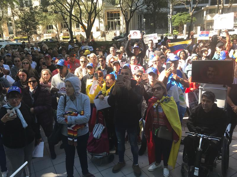 About 100 people protested on Thursday against Venezuelan President Nicolás Maduro in Downtown Miami.
