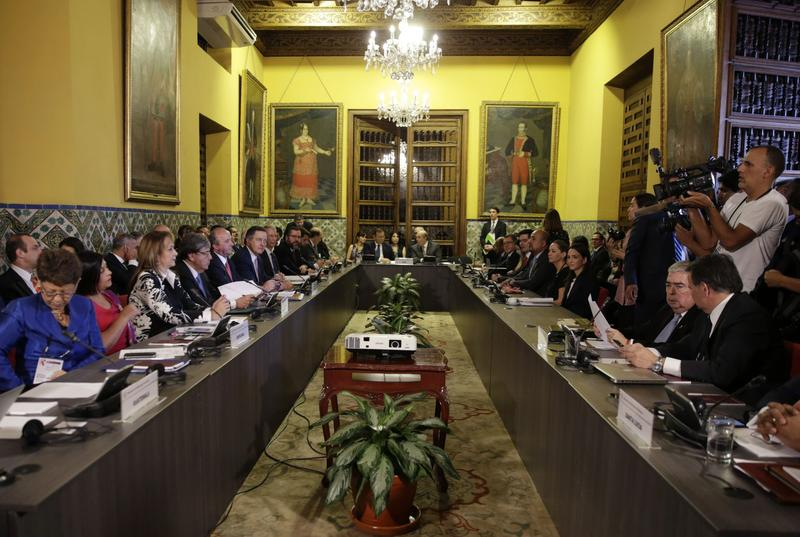 Foreign Ministers of the Lima Group meet in Lima, Peru, on Friday.