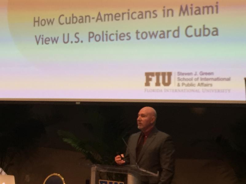 FIU sociologist Guillermo Grenier presents the new poll of Miami Cubans he directed at the university's main campus on Wednesday.
