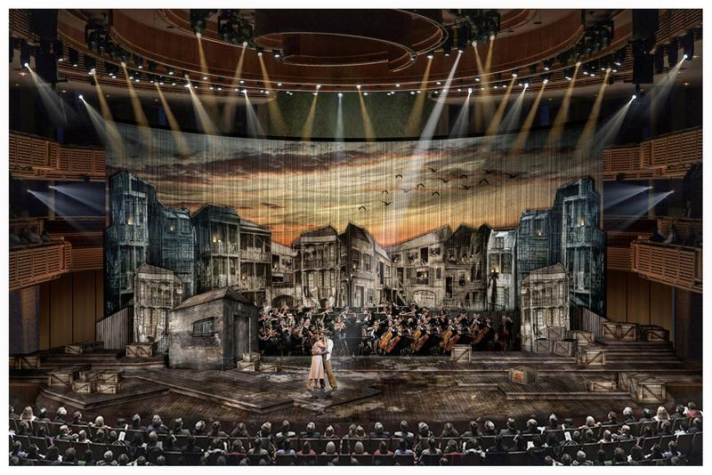 """The set design to The South Florida Symphony Orchestra's, """"Porgy and Bess."""""""