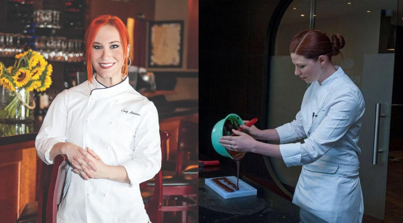 Chef Adrianne Calvo (left) is owner of Adrianne's Vineyard Restaurant and Chef Brielle Frantelleone (right) is the executive pastry chef of Chez Bon Bon.