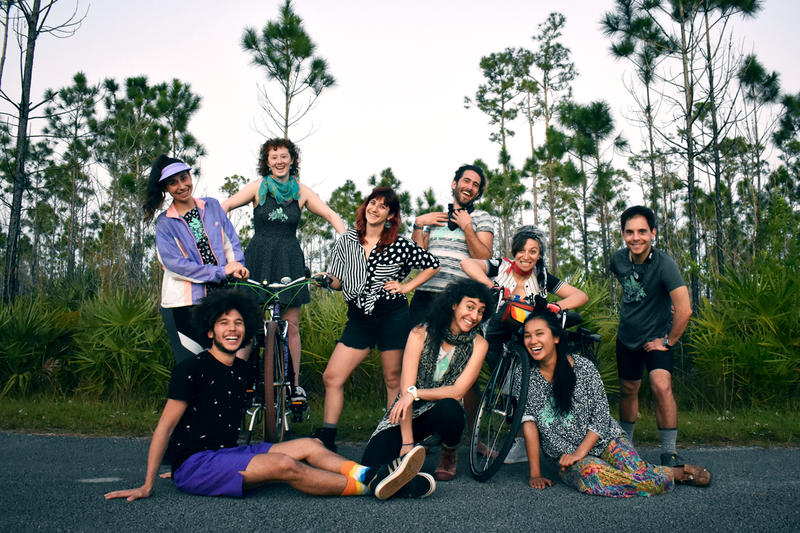 Agile Rascal Bicycle Touring Theater Company takes a quick photo before starting their 1,000 mile long bike tour throughout the state of Florida.
