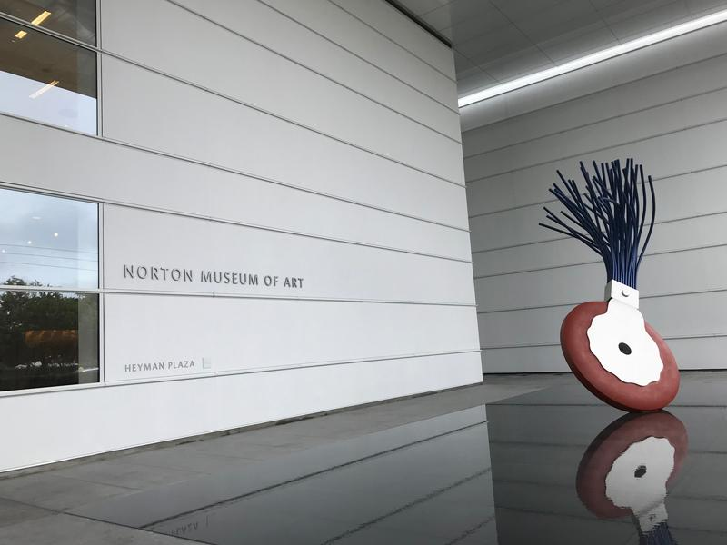 """At the front of the Norton Museum of Art is artist Claes Oldenburg's """"Typewriter Eraser,"""" a key symbol of the Museum."""