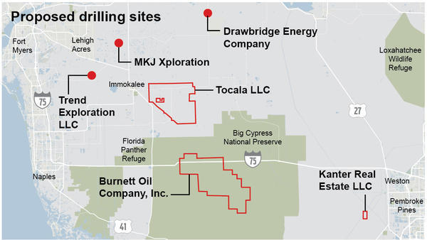 These locations in southeast Florida have been proposed for oil drilling.