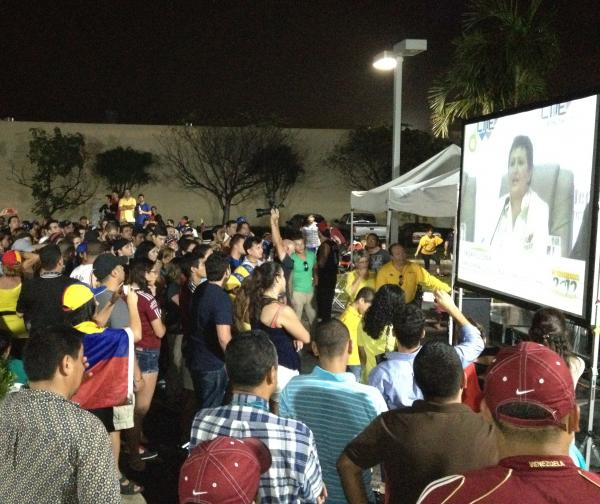 At outdoor election watch parties such as this one in the Venezuelan enclave of Doral, the excitement did not outlive the vote count.