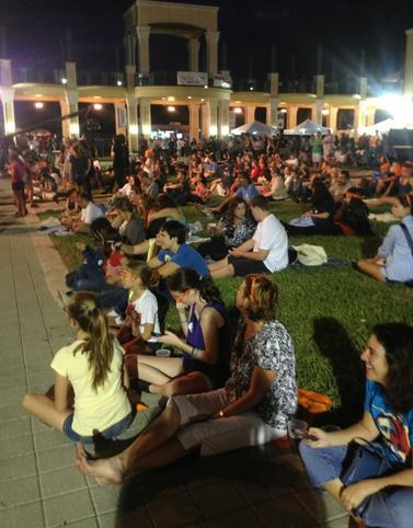 Debate watch party gathers at Mizner Park outside the debate.