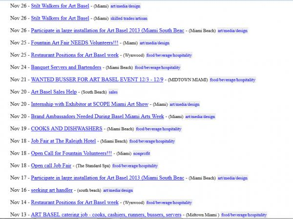 Screen grab of Craigslist after a search for Art Basel jobs