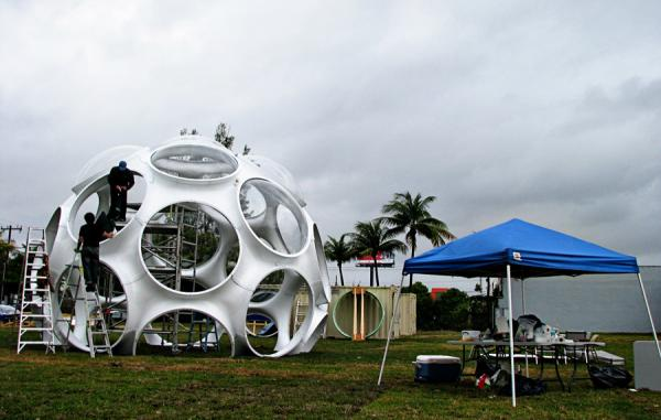 A geodesic dome under construction in the Design District before Art Basel Miami 2011.
