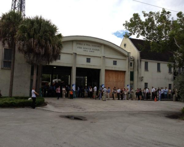 A shot from Precinct 617 from a Miami-Dade Voter, many voters also brought their dogs 
