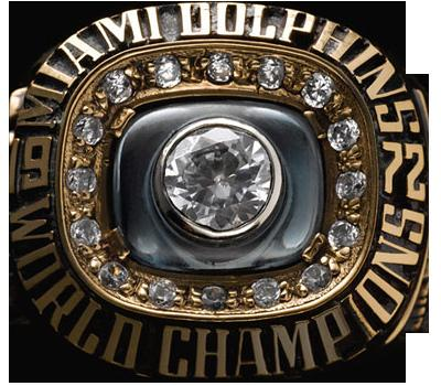 The Super Bowl ring worn by members of the unbeaten 1972 Miami Dolphins