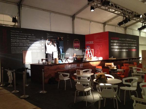 Michael's Genuine Food and Drink staff put the final touches on the pop-up MGFD Cafe at Design Miami.