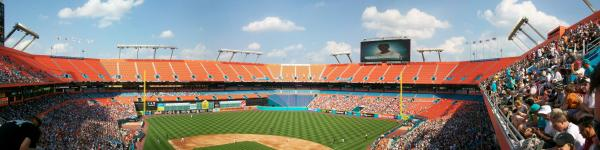 A panoramic view from Marlins opening day, before the team moved to Miami.
