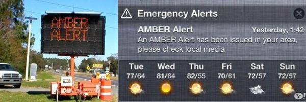 SPEADING THE WORD: Amber Alerts the old way, left, and the new smart phone way which relies on software that government ordered installed on all post-2011 phones.