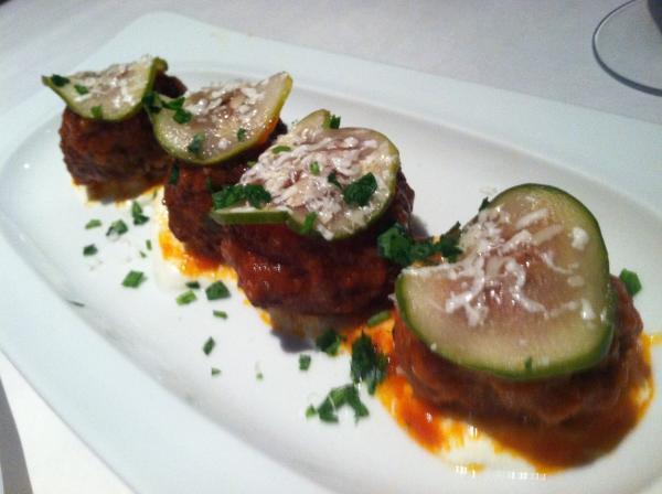 The picture-worthy meatballs at Osteria Acqua y Farina.