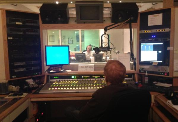 MARKETPLACE FROM MIAMI -- Through the glass at WLRN, Marketplace Morning Report host  Jeremy Hobson is seen kicking off a week of broadcasts about Miami as a product of immigration and diversity.