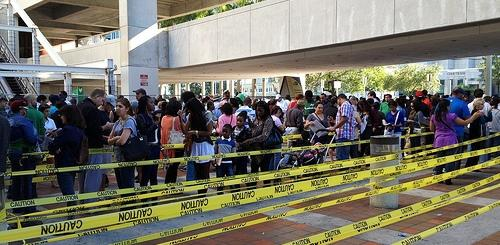 These voters in Miami waited in line about three hours before casting their ballots.