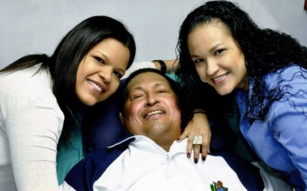 Venezuela's President Hugo Chávez with his daughters last week in Cuba while continuing to recover from cancer surgery. Chávez returned to his home country this week after an extended two-month absence.
