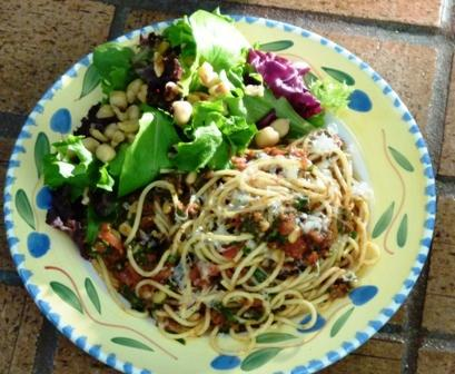 Red Pesto Pasta with Walnut and Chickpea Salad