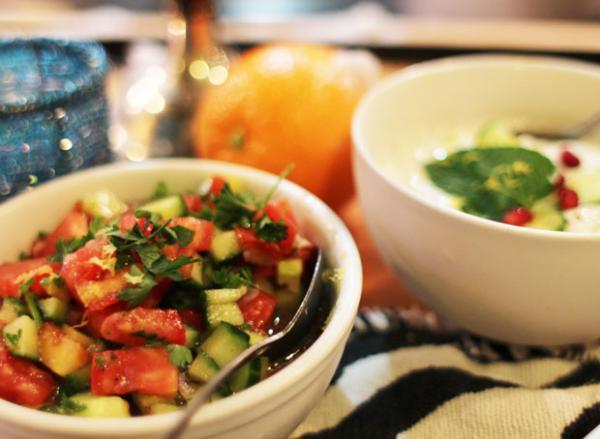 Salad shirazi or chopped salad with tomato, cucumber, parsley and lemon juice