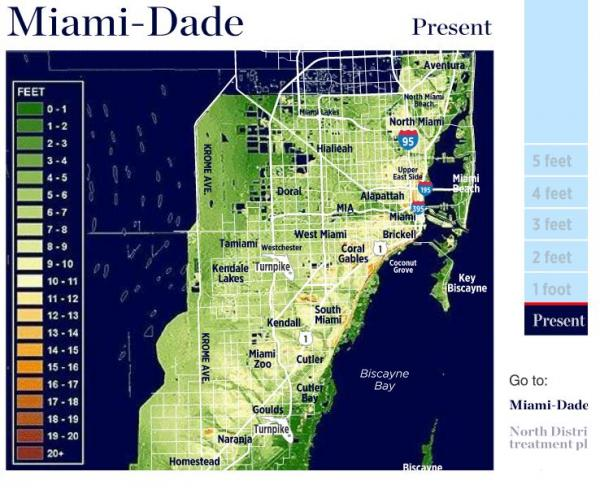 A map of the current sea level in south Florida.