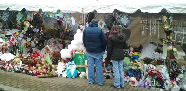 The Sandy Hook Elementary School memorial in Newtown, Conn.