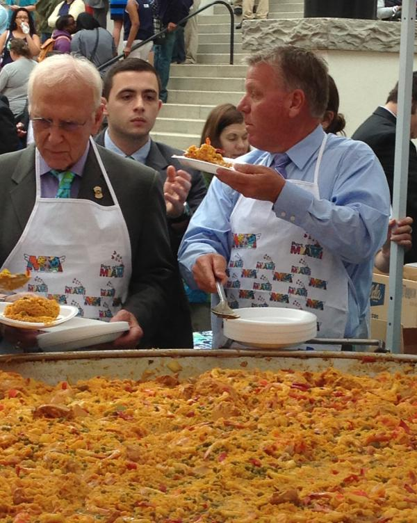 A TON OF STUFF: The seafood, rice and chicken dish known as paella is dished up at the capitol to celebrate Miami-Dade County.
