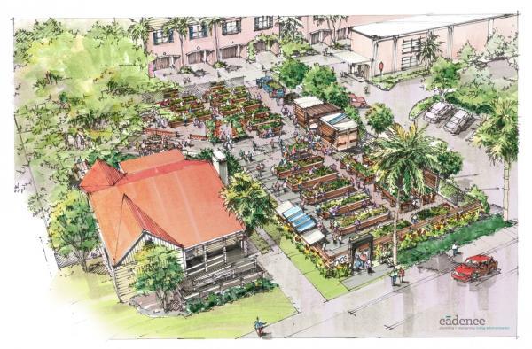 Artist rendering of the proposed Flagler Village Community Garden in Fort Lauderdale.