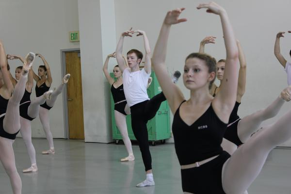 Ballet students during a class at Miami City Ballet School.