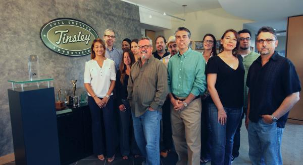 The creative team at Tinsley Advertising. Chief Creative Officer Dorn Martell is in the front row, third from left.