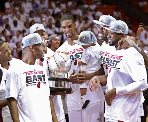 Trophy presentation after the Miami Heat defeated the Indiana Pacers in Game 7 of the NBA Eastern Conference Finals on June 3. Chris Bosh is holding his one-year-old son, Jackson.