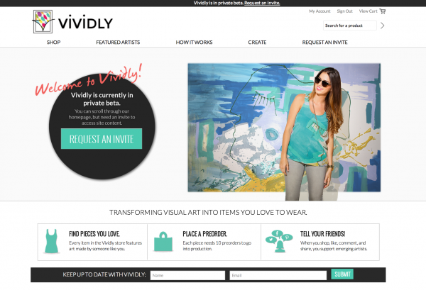 The homepage of the soon-to-be-launched Vividly website.