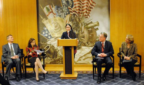 Cuban dissident blogger Yoani Sánchez speaking to State Department officials during her visit to the U.S. earlier this year, after Cuban leader Raúl Castro began allowing Cubans to travel abroad.