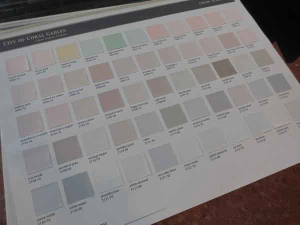 One of Benjamin Moore's color schedules for Coral Gables homes. These have all been pre-approved.