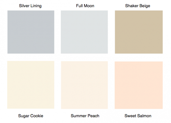 Kellogg says these Benjamin Moore colors are currently the most trendy among residents of Coral Gables.