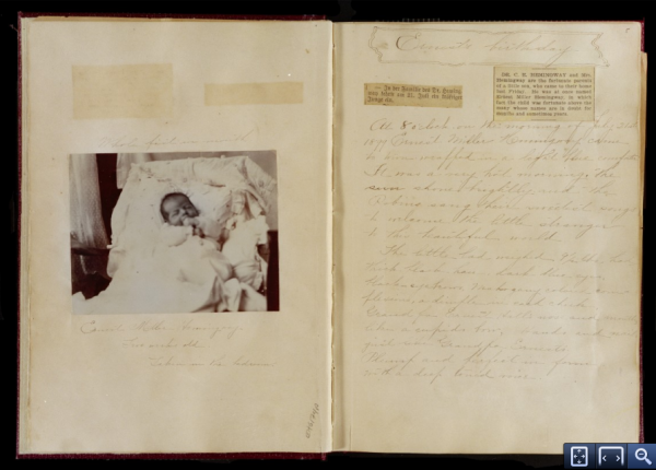A page in which Hemingway's mother describes his birth.