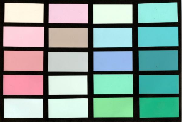 A palette of pastels created by Leonard Horowitz.