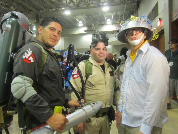 Fans from Miami pose as characters from the Ghostbusters film series.