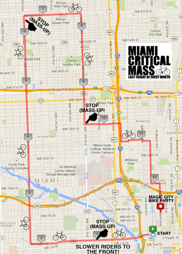 Miami's Critical Mass route for August 30.