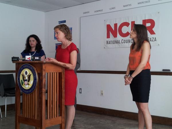 Rep. Debbie Wasserman Schultz (D-FL 23rd District) speaks at a press conference Wednesday hosted by the National Council of La Raza on the impact of federal sequestration cuts on Latinos.