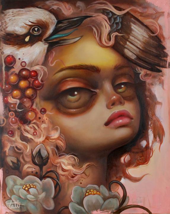 """""""Kooka Burra,"""" oil on wood, 2012"""