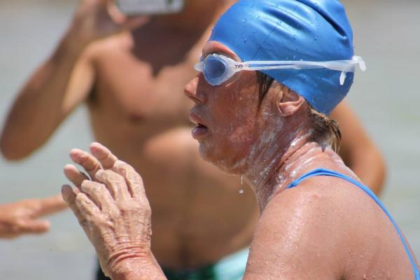 Diana Nyad, just after emerging from the water in Key West, following her record-breaking swim from Havana.