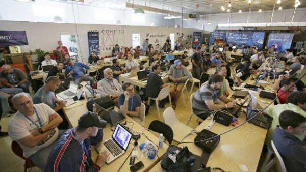 Miami hackers at The Battle Hack Hackathon in Miami's Wynwood district last month.