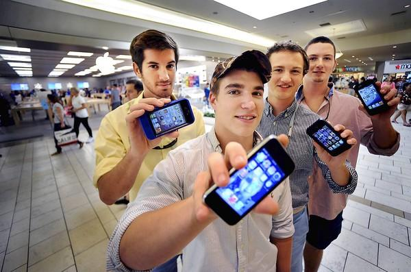 These FAU fraternity members are trying to raise money for charity by standing in line at the Apple Store at Town Center Mall in Boca Raton. The latest iPhone goes on sale Friday. Left to right are Justin Koppenberger, Zachary Goldberg, Patrick Gober, and at far right is Carson Sample.