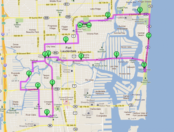 Fort Lauderdale's Critical Mass route for Friday, September 27.