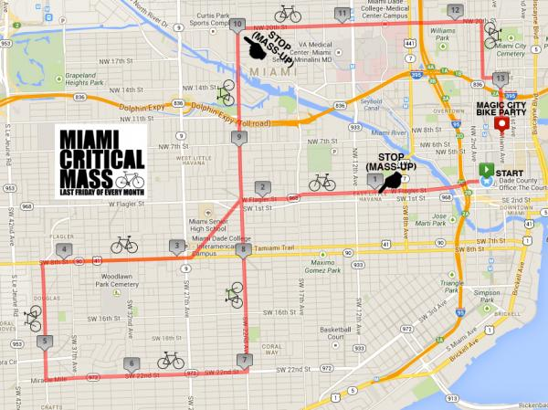 Miami's Critical Mass route for Friday, September 27.